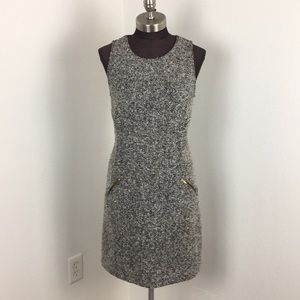 LOFT Sleeveless Grey Wool Sheath Dress